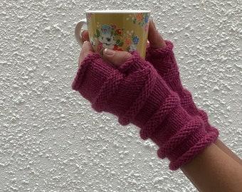 FINGERLESS MITTS / wristwarmers .'Tamar  Valley'. Merino wool / Alpaca blend. Cerise Pink . Eco friendly. UK seller......Ready to ship.....