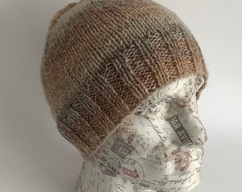 BEANIE HAT .' The Crofter' . Unisex .  Wool   blend. Knitted. Beige/ brown ...UK seller ... ready to ship.....