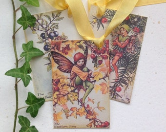 GIFT TAGS , ( pack of 3 ). Flower Fairies - Autumn mix 2  .Vintage-style .Fall. Hang tags .Wedding .UK seller...ready to ship..