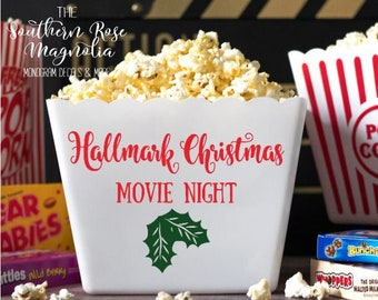 personalized popcorn tub hallmark christmas movie night family gifts popcorn theme party gift basket party favors popcorn bins