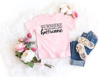 eae9fdb7 Sunshine mixed with a little hurricane toddler tee, summer tee, summer shirt,  cool quotes shirts, funny toddler shirts, bella canvas shirt
