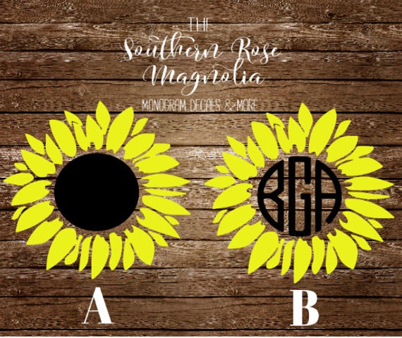 Sunflower Decal Monogram Sunflower Sunflower Monogram Etsy