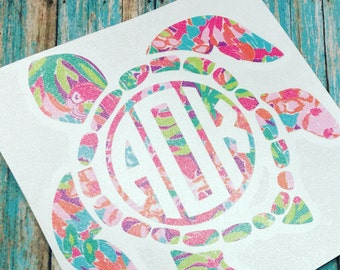 Sea Turtle Monogram Decal, Turtle Monogram, Lilly Inspired, Turtle Decal, Monogram Decal, Car Decal, Yeti Decal , Yeti Sticker