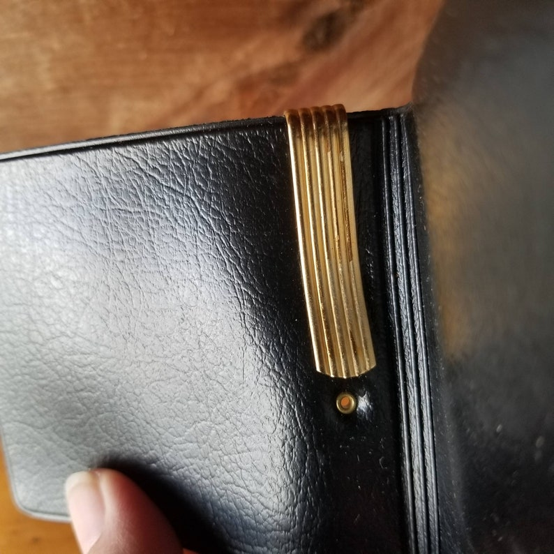 Vintage Money Clip Wallet Gold Lame Exterior Black Faux Leather Interior Original Box Unused