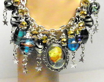 Van Gogh Bracelet, Van Gogh Jewelry, Starry Night Jewelry, Artisan Lampwork Beads, Vincent Van Gogh Art, Steampunk Jewelry, OOAK Bracelet #2