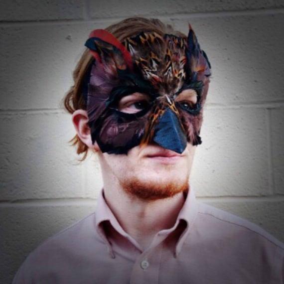 Masque Plume Effraie Noir Etsy De Chouette Hibou H8qwHrA