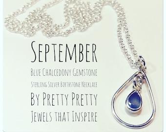 September Birthstone   Blue Chalcedony Gemstone   Sterling Silver   Teardrop Necklace