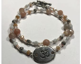 Om Gemstone   Double Wrap Bracelet