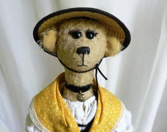 Artist bear dressed up, bear collection, nice bear Chiffonnelle exceptional, traditional costume, handmade teddy bear one of a kind