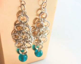 Silver plated chain link earrings with blue bead