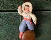 Antique German Spun Cotton Painted Face Christmas Tree Ornament Very Old - Christmas Decoration