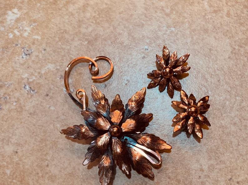 Large Matisse Renoir Vintage Clip Earrings /& Brooch Set Copper Vintage jewelry