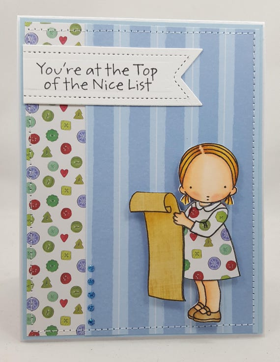 Christmas Nice List Blank NoteCard, Greetings Card, Handmade Card, Sewn Inside and Out, Pure Innocence, PI, MFT Stamps, My Favorite Things