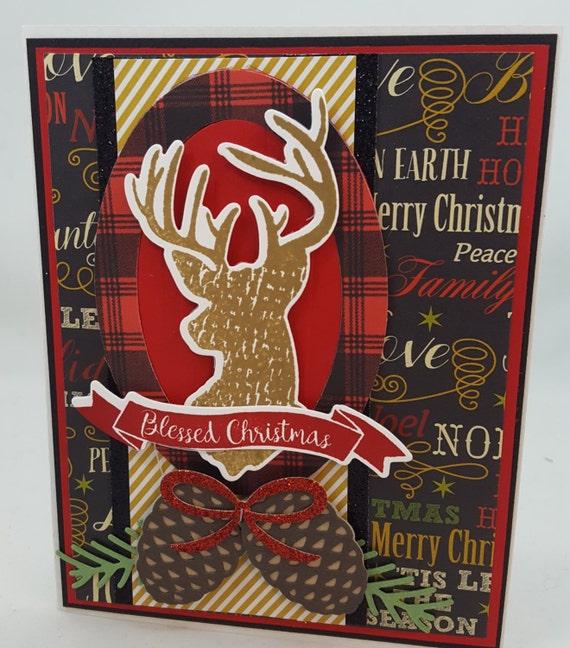 Christmas Deer - Blank NoteCard, Greetings Card, Handmade Card