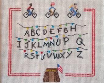 Stranger Things cross stitch sampler pattern