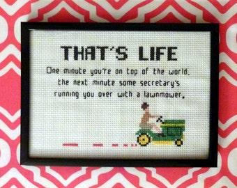 Mad Men cross stitch pattern lawnmower quote
