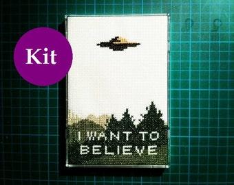 X Files I Want To Believe cross stitch kit