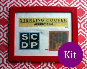 Mad Men cross stitch kit Sterling Cooper logos