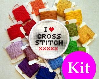 I Love Cross Stitch patch kit - DIY patch - stitchable patch - cross stitch kit