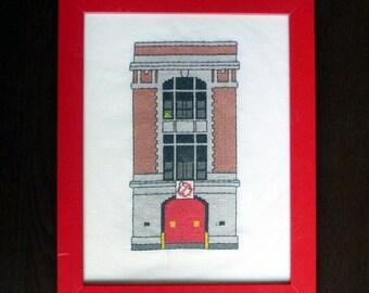 Ghostbusters firehouse cross stitch pattern