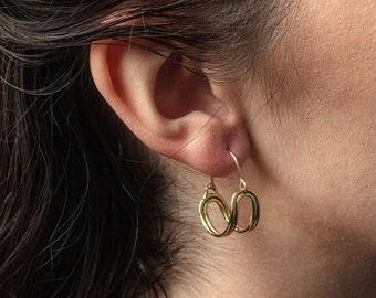 Solar Handmade Basket Style Hoop Earrings Cast in Brass, Sterling Silver or 10k Gold