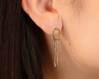 DEWDROP Stud Earrings // Handmade Chain Link Dangle Earrings in Brass, Sterling Silver or 10k Gold