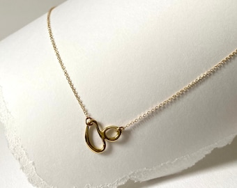 MINI TIDAL Handmade Pendant Necklace // Delicate Cast Pendant Necklace in Brass, Sterling Silver or 10k Gold