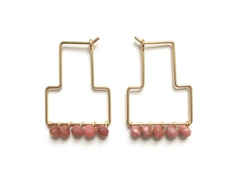 Handmade Rhodochrosite Tella Hoops / / Delicate T Shaped Wire Hoop Earrings in Sterling Silver or 14k Gold Fill