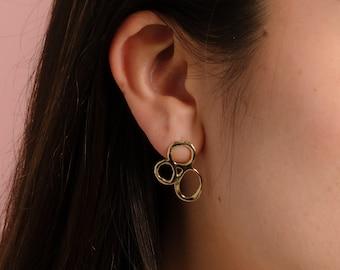 ONDINE Stud Earrings // Handmade Statement Earrings in Brass, Sterling Silver or 10k Gold