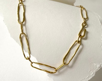 DEWDROP Handmade Chain Necklace // Cast Link Necklace in Brass, Sterling Silver or 10k Gold