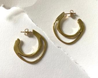 NAIAD Hoop Earrings // Handmade Sculptural Stud Hoop Earrings in Brass, Sterling Silver or 10k Gold