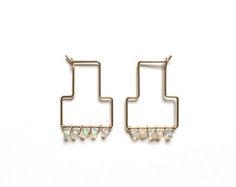 Handmade Opal Tella Hoops / / Delicate T Shaped Wire Hoop Earrings in Sterling Silver or 14k Gold Fill