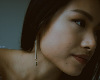 CHANNEL - Handmade Minimalist Carved Wabi Sabi Drop Earrings in Brass or Sterling Silver