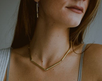 CHANNEL - Cast Link Choker Necklace in Brass or Sterling Silver / / Minimalist Collar Necklace by Goldeluxe