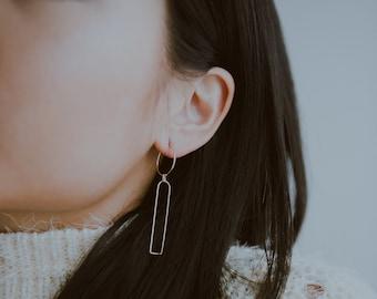 814a90648 Minimalist BAUHAUS III Drop Earrings / / Delicate Lightweight Sterling  Silver or 14k Gold Fill Wire Hoop Earrings