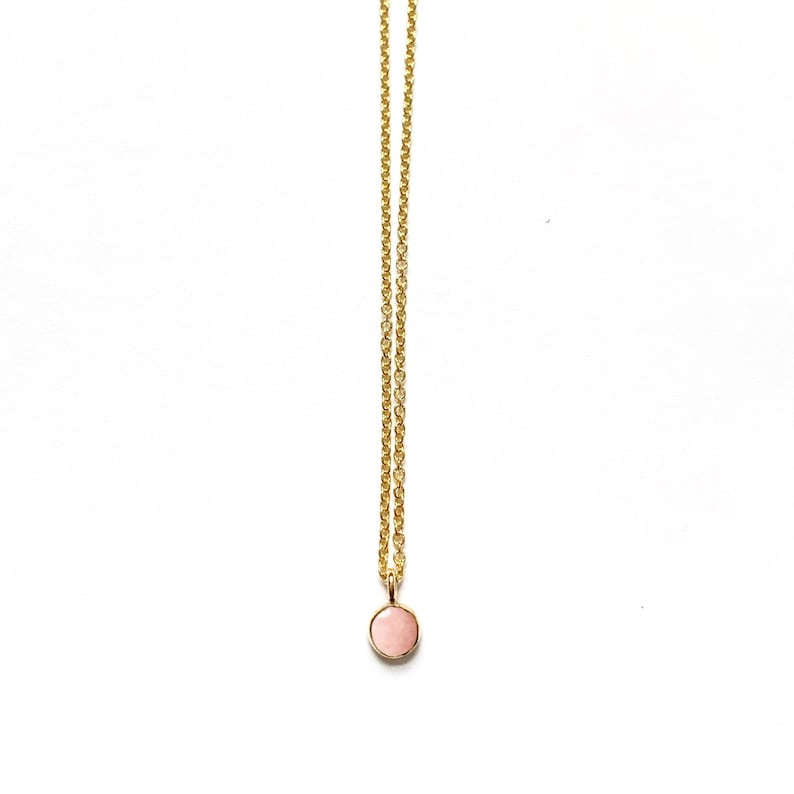 Handmade Pink Opal Gemstone Necklace in 14k Gold Fill or image 0