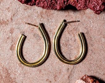 ELYSIAN Handmade Teardrop Hoop Earrings Cast in Brass, Sterling Silver or 10k Gold
