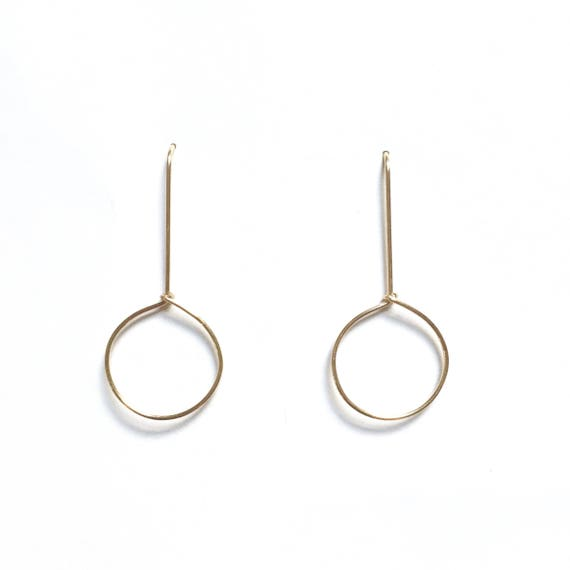 Handmade Minimalist Circle Drop Earrings Delicate Etsy