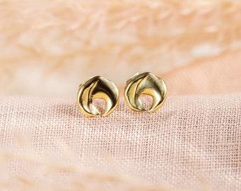PHASE Stud Earrings // Handmade Cast Earrings in Brass, Sterling Silver or 10k Gold