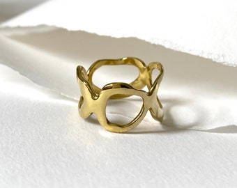 INO Handmade Cast Band Ring // Chunky Circular Ring in Brass, Sterling Silver or 10k Gold
