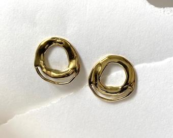 COVE Circle Stud Earrings // Handmade Sculptural Cast Earrings in Brass, Sterling Silver or 10k Gold