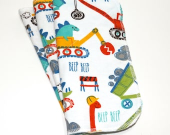 Baby boy soft washcloths, set of 3 flannel and minky dot worker dinosaurs, cloth wipes, large washcloths, flannel wipes, soft baby wipes