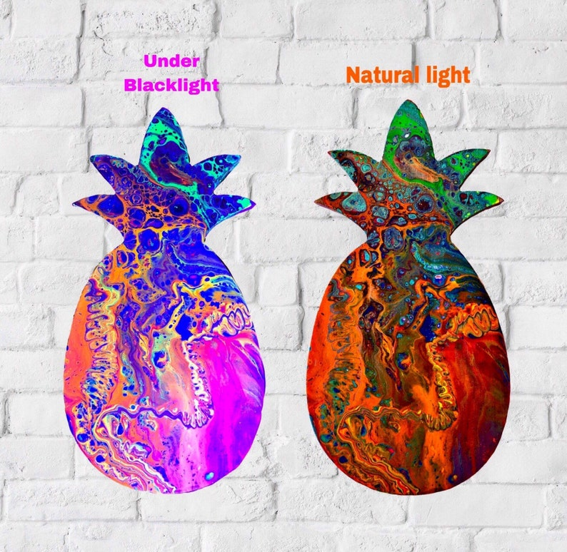 Fluorescent Art Peinture Sur Bois Ananas Art Abstrait Etsy