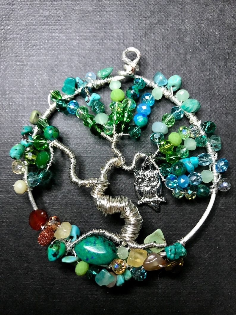 jewelry or wall art greenish-blue or suncatcher Tree of life all colors available pendant or family tree birthstone colors Customize