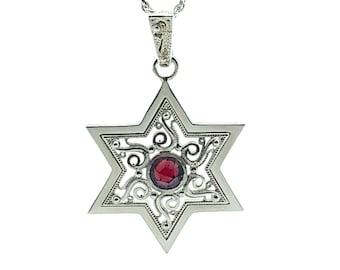 925 Silver Star of David Pendant, Filigree  Star of David Pendant Garnet Stone,Star of David Necklace