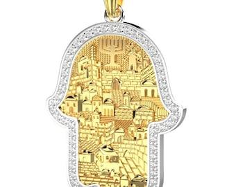 14k Gold  Diamonds Jerusalem Hamsa Pendant ,Jewish Pendant   ,Gold Hamsa Pendant,Star Of David Pendant