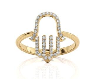 Lab Diamonds Hamsa Ring, 14k Yellow Gold Ring, Large Hamsa Ring ,Gift For Women Mother's Day