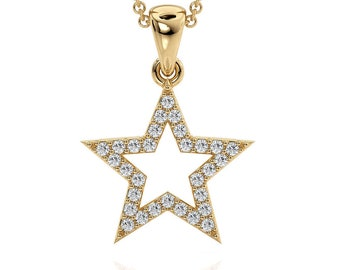 14K Yellow Gold Star Pendant Set With Daimonds