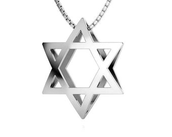 Bold Silver Star of David Pendant Necklace