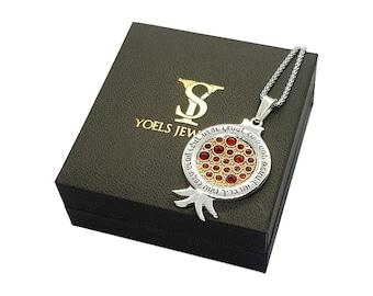 Gold & 925 Silver Pomegranate Pendant Necklace set With Garnets ,Shir HaShirim  Pendant ,Jewish Pendant,Pomegranate Pendants Necklace